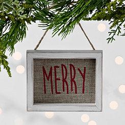 Burlap Merry Frame Ornament