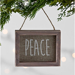 Burlap Peace Frame Ornament