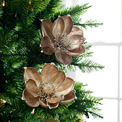 Metallic Gold Magnolia Stem, Set of 2