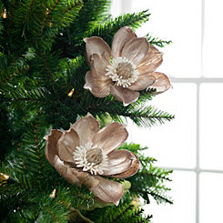 Metallic Platinum Magnolia Stem, Set of 2