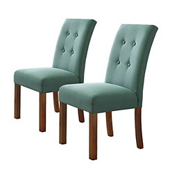 Button Tufted Aqua Parsons Chairs, Set of 2