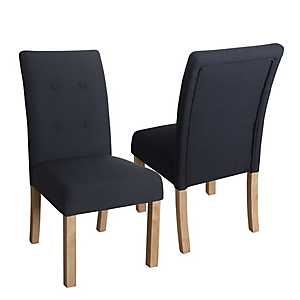 Navy Kristen Tufted Parsons Chairs, Set of 2