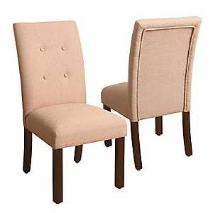 Button Tufted Orange Parsons Chairs, Set of 2