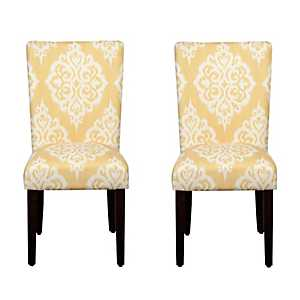 Yellow and Cream Damask Parsons Chairs, Set of 2