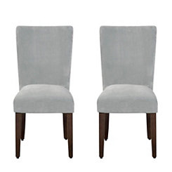 Dove Gray Velvet Parsons Chairs, Set of 2