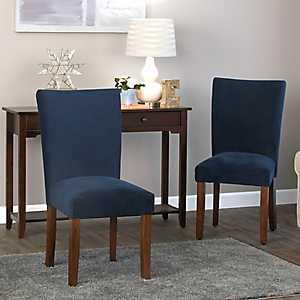Navy Plush Velvet Parsons Chairs, Set of 2