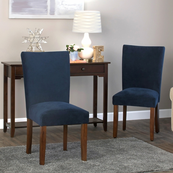 navy plush velvet parsons chairs set of 2 - Navy Dining Room Chairs