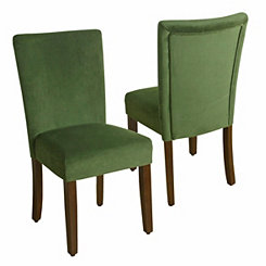 Green Velvet Parsons Chairs, Set of 2