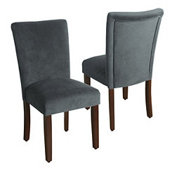 Dark Gray Velvet Parsons Chairs, Set of 2