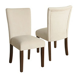 Cream Velvet Parsons Chairs, Set of 2