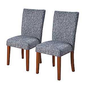 Shabby Chevron Blue Parsons Chairs, Set of 2