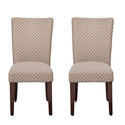 Brown Quatrefoil Parsons Chairs, Set of 2