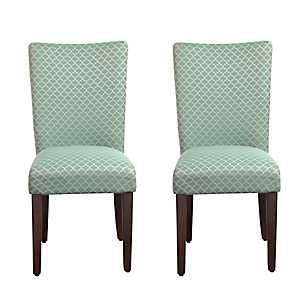 Aqua Quatrefoil Parsons Chairs, Set of 2