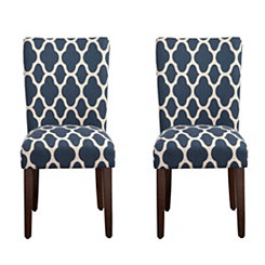 Navy Geometric Quatrefoil Parsons Chairs, Set of 2