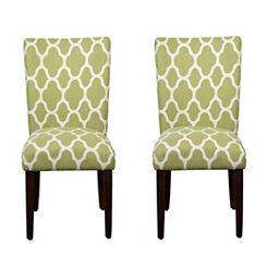 Green Quatrefoil Parsons Chairs, Set of 2