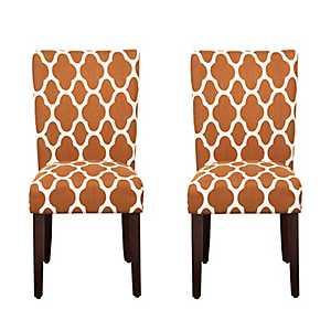 Rust Geometric Quatrefoil Parsons Chairs, Set of 2