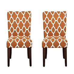 Rust Geometric Quatrefoil Parsons Chairs, Set of 2