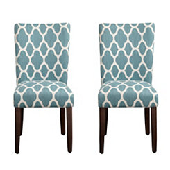 Turquoise Quatrefoil Parsons Chairs, Set of 2