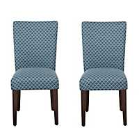 Blue Mini Quatrefoil Parsons Chairs, Set of 2