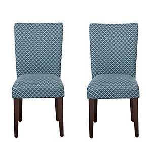 Blue Mini Quatrefoil Parsons Chairs, Set of 2