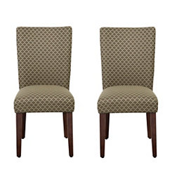 Brown Mini Quatrefoil Parsons Chairs, Set of 2