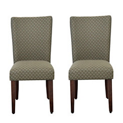 Blue and Brown Quatrefoil Parsons Chairs, Set of 2
