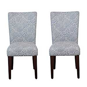 Navy and Cream Floral Parsons Chairs, Set of 2