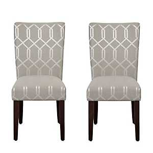 Pewter Gray Lattice Parsons Chairs, Set of 2