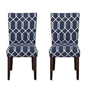Navy Blue Lattice Parsons Chairs, Set of 2