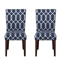 Navy Blue Lattice Parsons Chairs, Set of 2