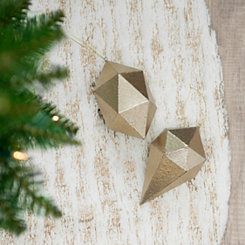 Geo Gold Foil Ornament, Set of 2
