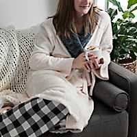 Cream Plush Robe with Fur Collar, S/M