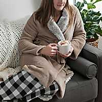 Natural Plush Robe with Fur Collar