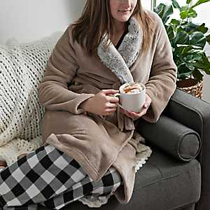 Natural Plush Robe with Fur Collar, L/XL