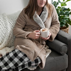 Natural Plush Robe with Fur Collar, L/XL
