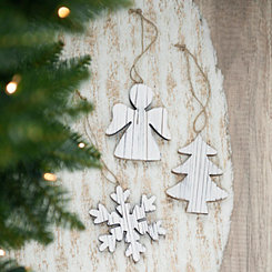 White Washed Wood Christmas Ornament, Set of 3