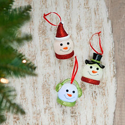 LED Snowman Head Ornaments, Set of 3