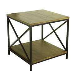 Rustic Wood Plank Accent Table