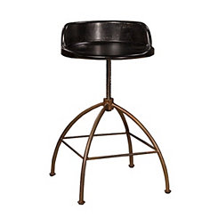 Rubbed Black Wood Adjustable Stool