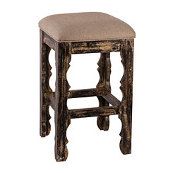Blackwash Carrara Backless Bar Stool