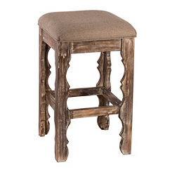 Whitewash Carrara Backless Counter Stool