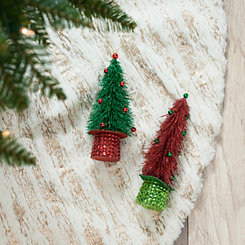 Top Hat Tinsel Tree Ornaments, Set of 2