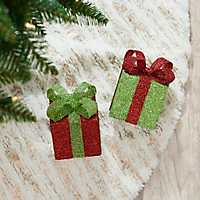 Red and Green Gift Box Ornaments, Set of 2