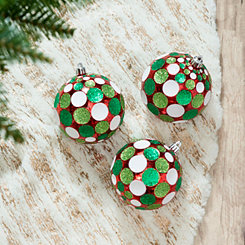 Red and Green Disco Dot Ball Ornaments, Set of 3