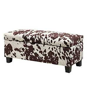 White and Tan Cowhide Storage Bench