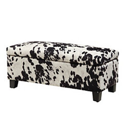 Black and White Cowhide Storage Bench
