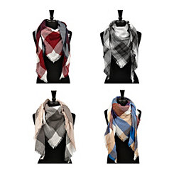 Plaid Woven Triangle Scarves