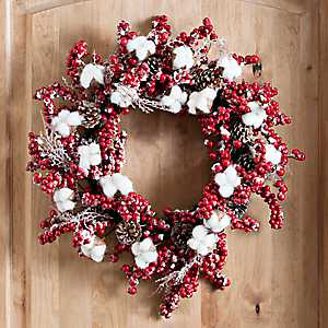 Red Berries and Cotton Wreath