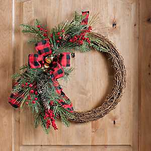Buffalo Check and Pine Wreath