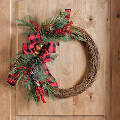 Buffalo Check and Pine Wreath